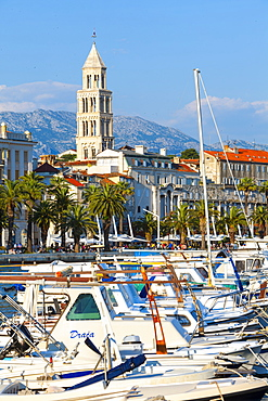 St. Domnius Cathedral Bell Tower and picturesque harbour, Stari Grad (Old Town), Split, Central Dalmatia, Croatia, Europe - 1158-463