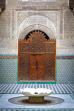 The ornate interior of Madersa Bou Inania, Fes el Bali, UNESCO World Heritage Site, Fez, Morocco, North Africa, Africa