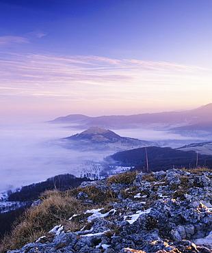 View from Breitenstein mountain to Limburg Castle, Weilheim, Swabian Alb, Baden Wurttemberg, Germany, Europe