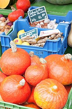 Pumpkins, onions, ginger, potatoes, garlic and lemons at a market stall, weekly market, market place, Esslingen, Baden Wurttemberg, Germany, Europe
