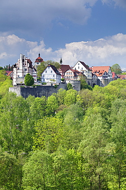 Vellberg castle with old town, Vellberg, Hohenlohe Region, Baden Wurttemberg, Germany, Europe