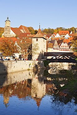 Kocher River and old town, Schwaebisch Hall, Hohenlohe, Baden Wurttemberg, Germany, Europe