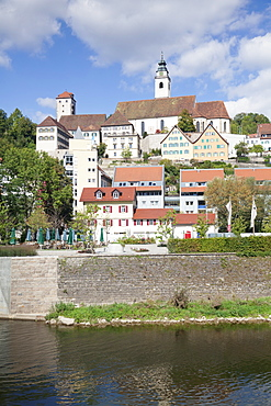 Old towm with Dominican Monastery and Stiftskirche Heilig Kreuz collegiate church and Neckar River, Horb am Neckar, Black Forest, Baden Wurttemberg, Germany, Europe