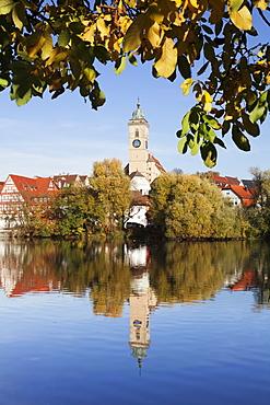Municipal church of Stadtkirche St. Laurentius, Nurtingen, Neckar River, Baden Wurttemberg, Germany, Europe