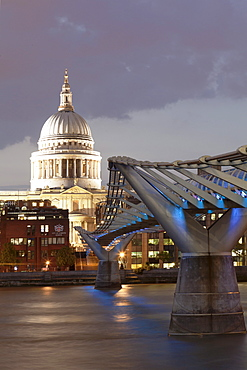 Millennium Bridge, St. Paul's Cathedral and River Thames, London, England, United Kingdom, Europe