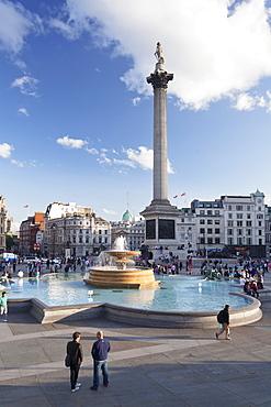 Trafalgar Square with Nelson's Column and fountain, London, England, United Kingdom, Europe