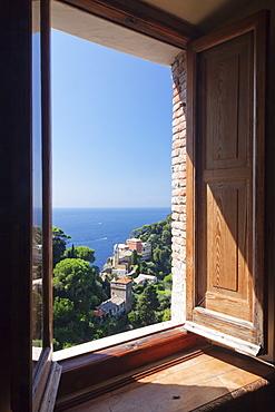 View from Castello Brown Castle to Chiesa San Giorgio church, Portofino, Riviera di Levante, Province of Genoa, Liguria, Italy, Europe