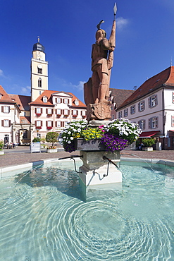 Market Square with twin houses and St. Johannes Baptist Cathedral, Bad Mergentheim, Taubertal Valley, Romantische Strasse (Romantic Road), Baden Wurttemberg, Germany, Europe