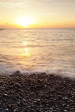 Sunset at Playa de Alojera beach, Alojera, West Coast, La Gomera, Canary Islands, Spain, Atlantic, Europe