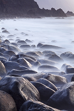 Basalt boulders in the ocean, El Golfo, UNESCO Biosphere Reserve, El Hierro, Canary Islands, Spain, Atlantic, Europe