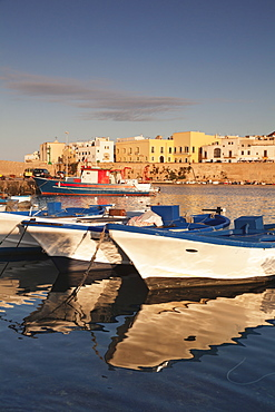Fishing boats at the port, old town at sunrise, Gallipoli, Lecce province, Salentine Peninsula, Puglia, Italy, Europe