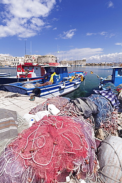 Fishing boats at the port, old town with castle, Gallipoli, Lecce province, Salentine Peninsula, Puglia, Italy, Europe