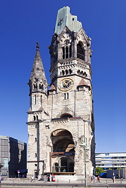 Kaiser Wilhelm Memorial church at Kurfuerstendamm, Berlin, Germany, Europe