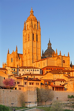 Cathedral at sunset, UNESCO World Heritage Site, Segovia, Castillia y Leon, Spain, Europe