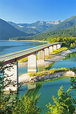 Bridge over Sylvensteinsee lake near Lenggries, Deutsche Alpenstrassee (German Alpine Route), Upper Bavaria, Bavaria, Germany, Europe