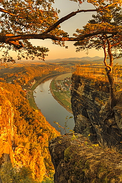 View of Elbe river from Bastei in Elbe Sandstone Mountains, Germany, Europe