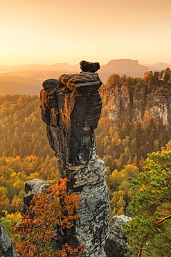 Wehlnadel rocks at sunset in Elbe Sandstone Mountains, Germany, Europe