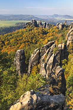Schrammsteine rocks during autumn in Elbe Sandstone Mountains, Germany, Europe