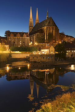 View over Neisse River to St. Peter and Paul Church, Goerlitz, Saxony, Germany, Europe