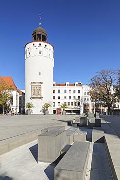 Dicker Turm Tower at Marienplatz Square, Goerlitz, Saxony, Germany, Europe
