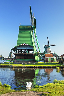 Windmills, open-air museum, Zaanse Schans, Zaandam, North Holland, Netherlands, Europe