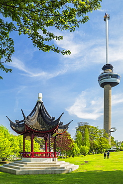 Euromast television tower, Architect Huig Maaskant, Chinese pavillon, Het Park, Rotterdam, South Holland, Netherlands, Europe