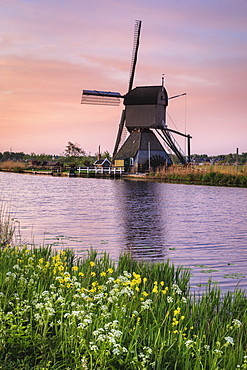 Windmill at sunrise, Kinderdijk, UNESCO World Heritage Site, South Holland, Netherlands, Europe