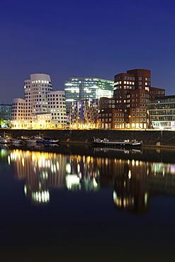 Neuer Zollhof, designed by Frank Gehry, Media Harbour (Medienhafen), Dusseldorf, North Rhine Westphalia, Germany, Europe