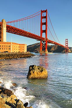 Golden Gate Bridge at sunrise, San Francisco Bay, California, USA
