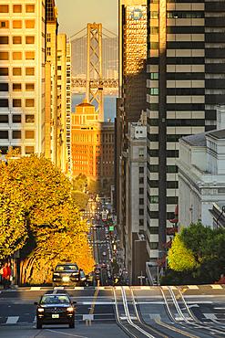 View from California Street to Oakland Bay Bridge, San Francisco, California, USA