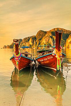 Longtail boats at sunrise, Ko Phi Khi Don Island, Krabi, Thailand, Southeast Asia, Asia