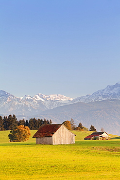 Cottage in Prealps landscape, Fussen, Ostallgau, Allgau, Allgau Alps, Bavaria, Germany, Europe