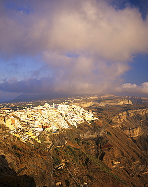 Evening view over Fira and the volcanic landscape, Santorini, Cyclades, Greek Islands, Greece, Europe