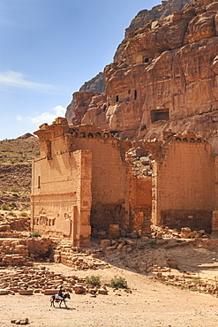 Local man on donkey passes Qasr al-Bint temple, elevated view, City of Petra ruins, Petra, UNESCO World Heritage Site, Jordan, Middle East