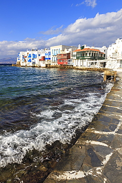 Little Venice promenade, Mykonos Town (Chora), Mykonos, Cyclades, Greek Islands, Greece, Europe