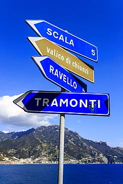 Iconic Amalfi Coast attractions on a coastal road sign, famous Amalfi Coast road, UNESCO World Heritage Site, Campania, Italy, Europe
