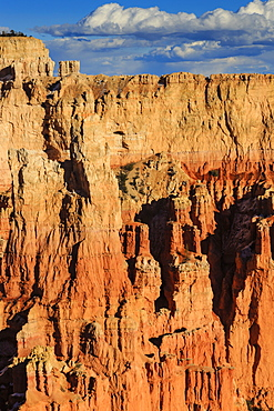 Rim cliffs and hoodoos lit by late afternoon sun in winter, Paria View, Bryce Canyon National Park, Utah, United States of America, North America
