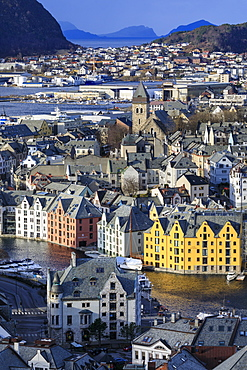 View from Aksla hill over beautiful Alesund, colourful Art Nouveau buildings in winter, Alesund, More og Romsdal, Norway, Scandinavia, Europe