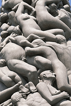 Intertwined human figures, detail of the Monolith by Gustav Vigeland, Frogner Park, Oslo, Norway, Scandinavia, Europe
