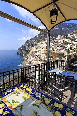Positano, from a cliffside cafe, Costiera Amalfitana (Amalfi Coast), UNESCO World Heritage Site, Campania, Italy, Europe