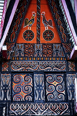 Decoration on a traditional Torajan Tongkonan long house, Tana Toraja, Sulawesi, Indonesia, Southeast Asia, Asia