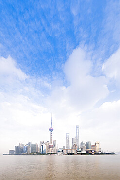 The Shanghai city skyline with the Oriental Pearl TV Tower, the Shanghai Tower and the Shanghai World Financial Center, Pudong, Shanghai, China, Asia