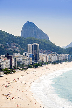Elevated view of the beach and the Atlantic Ocean with the Sugar Loaf in the background, Copacabana, Rio de Janeiro, Brazil, South America