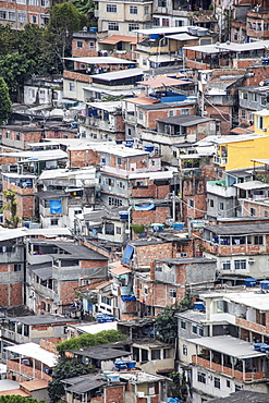 Detailed view of poor housing in the Pavao Pavaozinhao favela slum, Rio de Janeiro, Brazil, South America