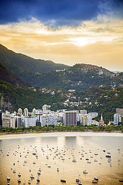 View of Botafogo Bay from Sugar Loaf mountain in Rio de Janeiro, Brazil, South America