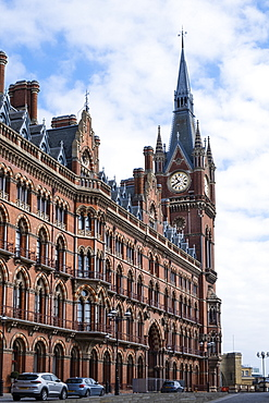 St. Pancras Eurostar rail terminal showing the Clock Tower designed by George Gilbert Scott, London, England, United Kingdom, Europe
