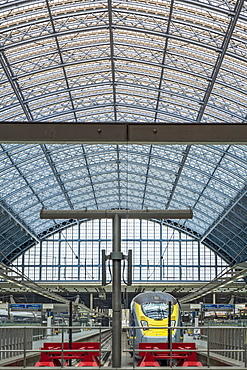 Interior of St. Pancras railway station, the Eurostar terminal, showing Victorian iron girders and Eurostar trains, London, England, United Kingdom, Europe