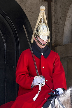 A Lifeguard of the Queen's Guards, in ceremonial dress on sentry duty, Horse Guards, Westminster, London, England, United Kingdom, Europe