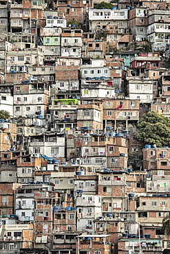 View of poor housing in the favela (slum), Cantagalo near Copacabana Beach, Rio de Janeiro, Brazil, South America