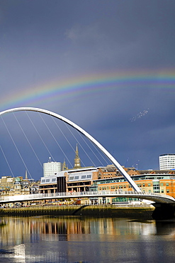 The Gateshead Millennium Bridge over the Tyne River, Gateshead, Newcastle-upon-Tyne, Tyne and Wear, England, United Kingdom, Europe